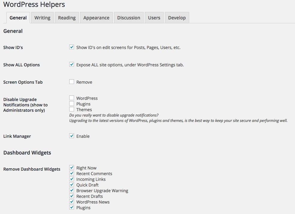 wordpress-helpers-settings